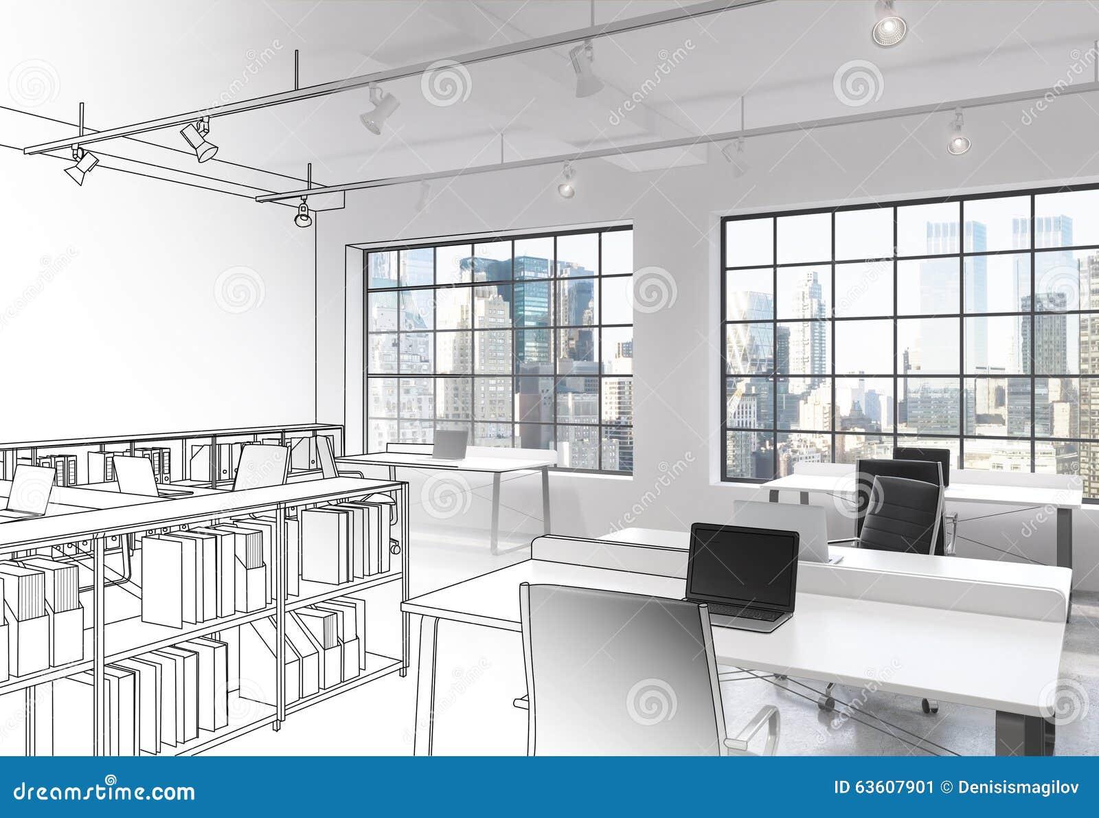 Lieux de travail dans le bureau moderne de lespace ouvert de