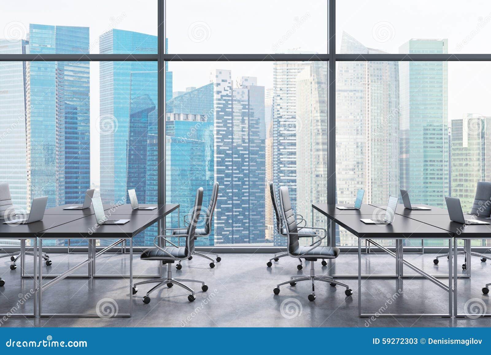 lieux de travail dans un bureau panoramique moderne vue de ville de singapour des fen tres l. Black Bedroom Furniture Sets. Home Design Ideas