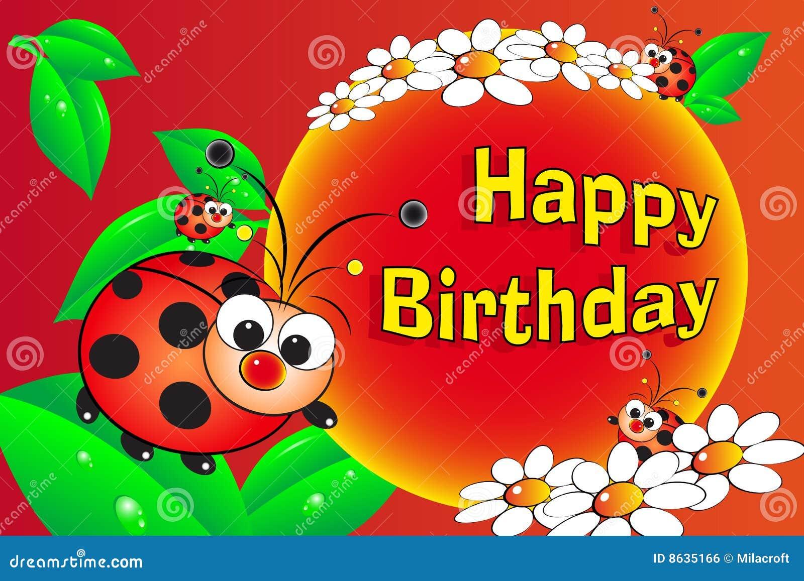 Voorkeur Lieveheersbeestje En Bloemen - De Kaart Van De Verjaardag Vector  #CO78