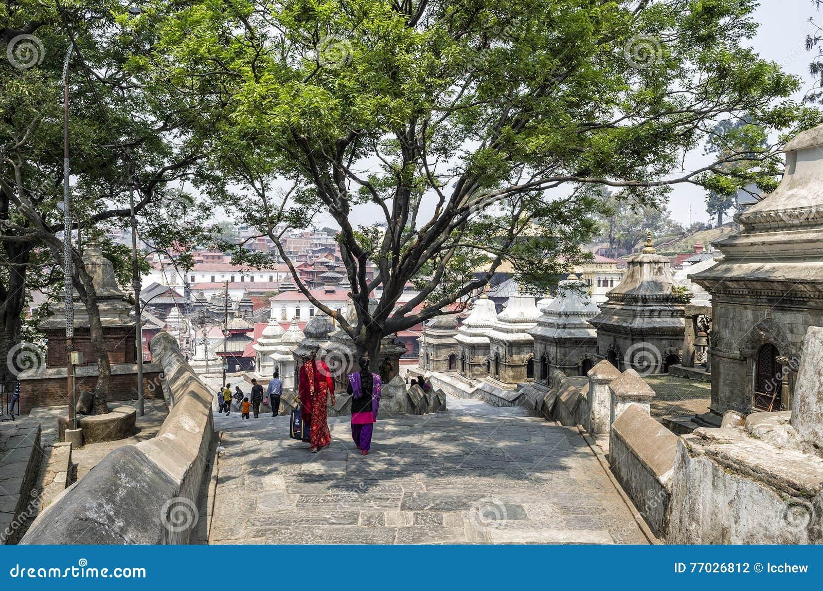 Life and activities along the holy Bagmati River at Pashupatinath Temple, Kathmandu, Nepal.