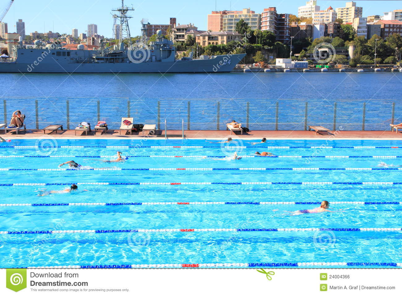 Outdoor Swimming Pool In Harbor At Navy Docks Editorial