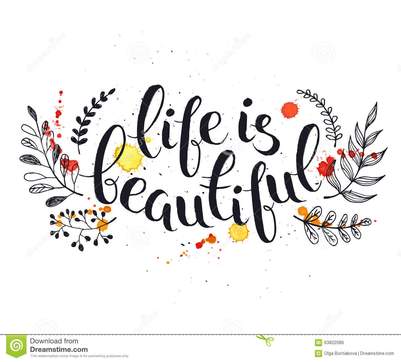 Life Is Beautiful Stock Vector Illustration Of Brush 63822086