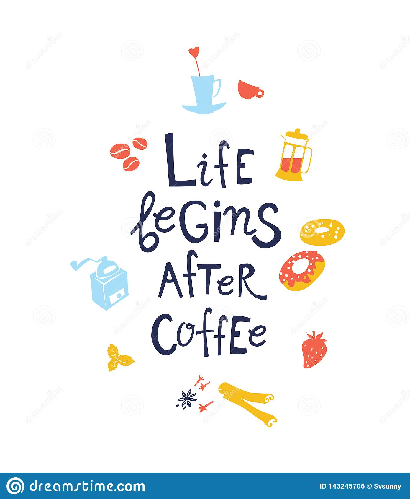 Life Begins After Coffee Hand Drawn Lettering Quote Stock ...