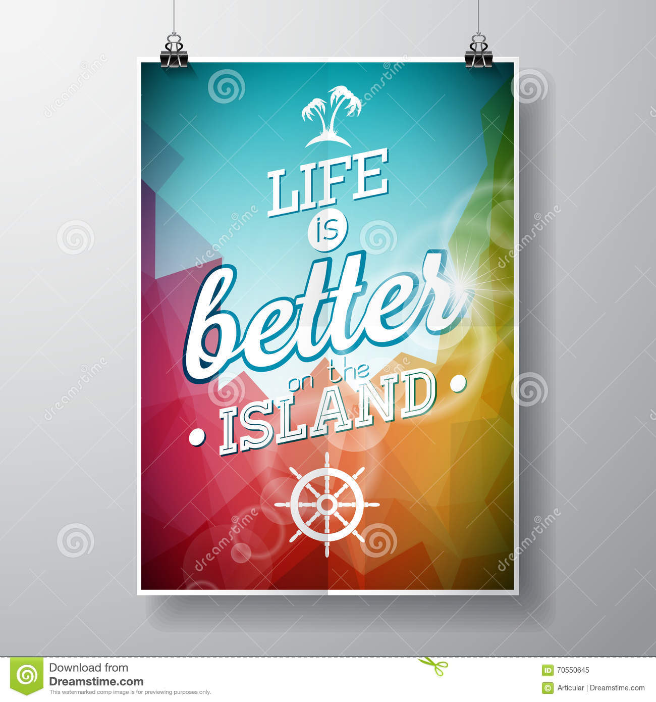 Life is better on the island inspiration quote on abstract color life is better on the island inspiration quote on abstract color background vector typography design element for greeting cards a kristyandbryce Gallery