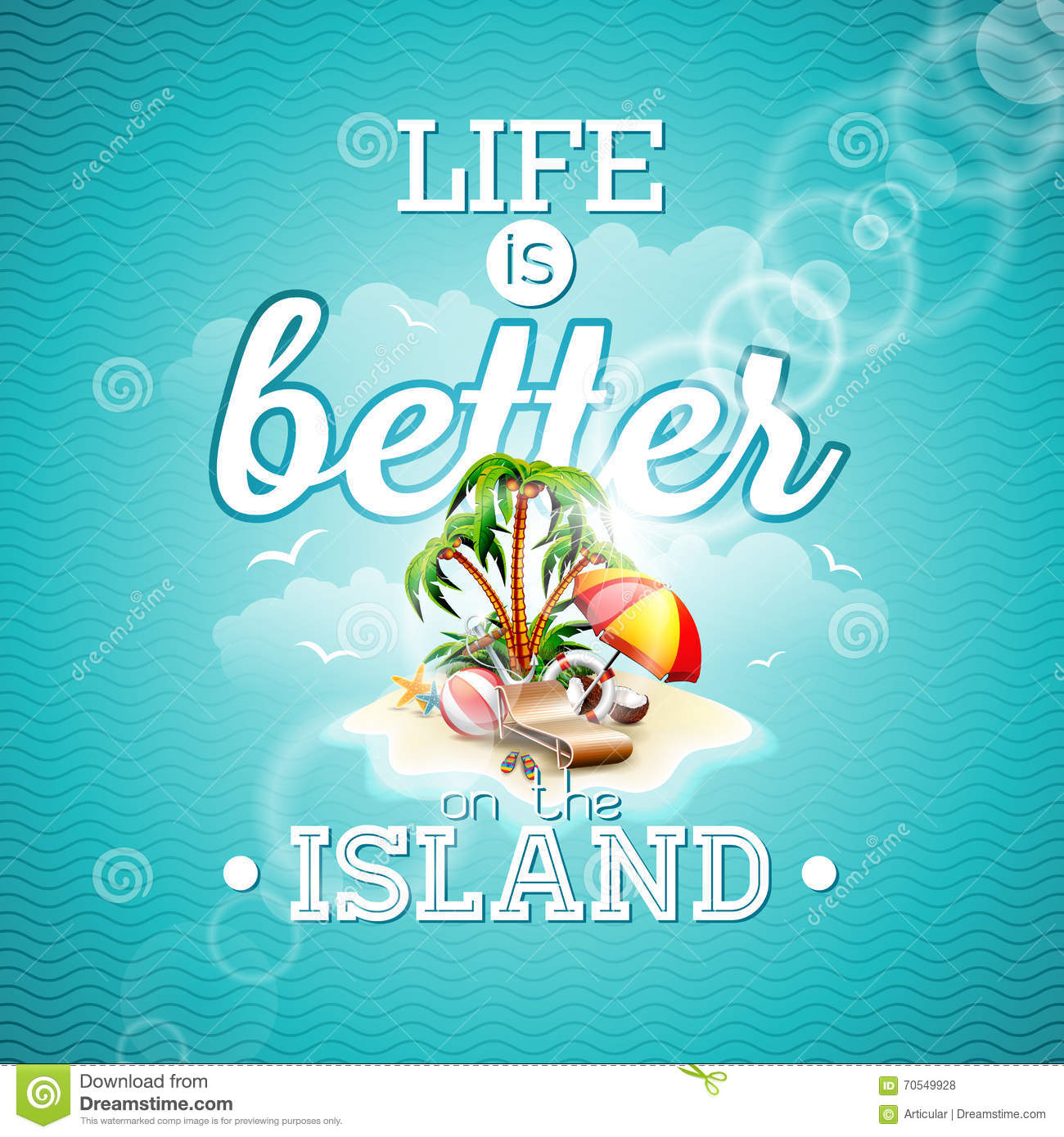 Life is better on the island inspiration quote with paradise island life is better on the island inspiration quote with paradise island vector typography design element for greeting cards and poste kristyandbryce Gallery