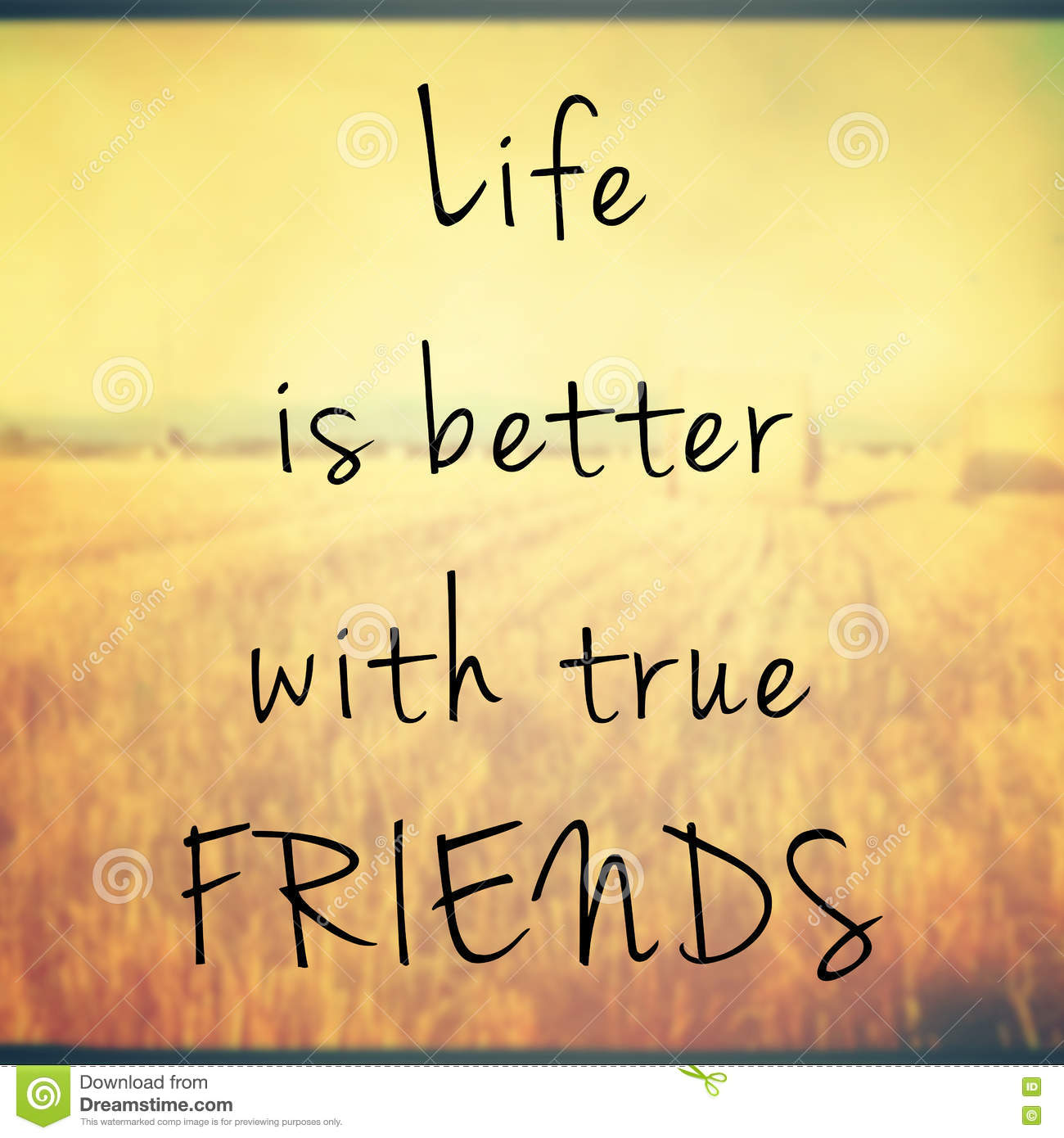 Life Is Better With True Friends Quote Stock Illustration