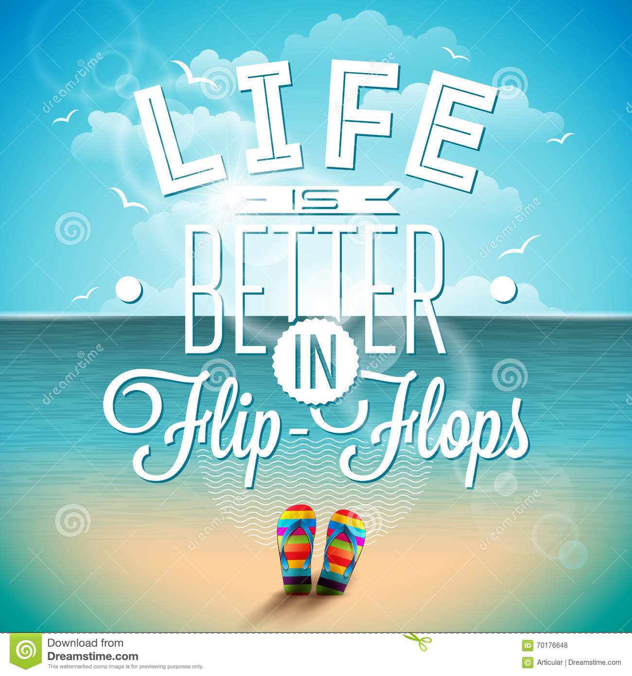 Stock Quotes Free Real Time: Life Is Betterin Flip-flops Inspiration Quote On Seascape