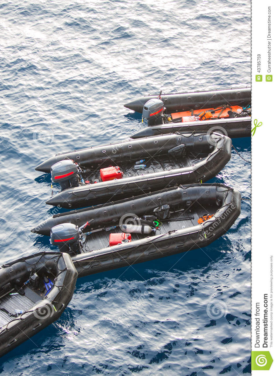 Life Boats In The Sea For Help And Support People. Rescue Boats In The Sea, Rubber Boat With The ...