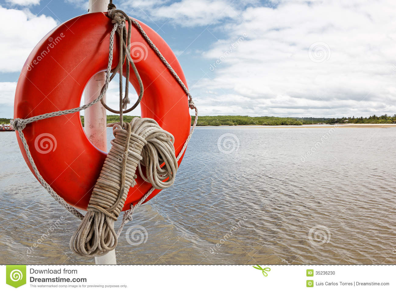 Life buoy and rope on boat
