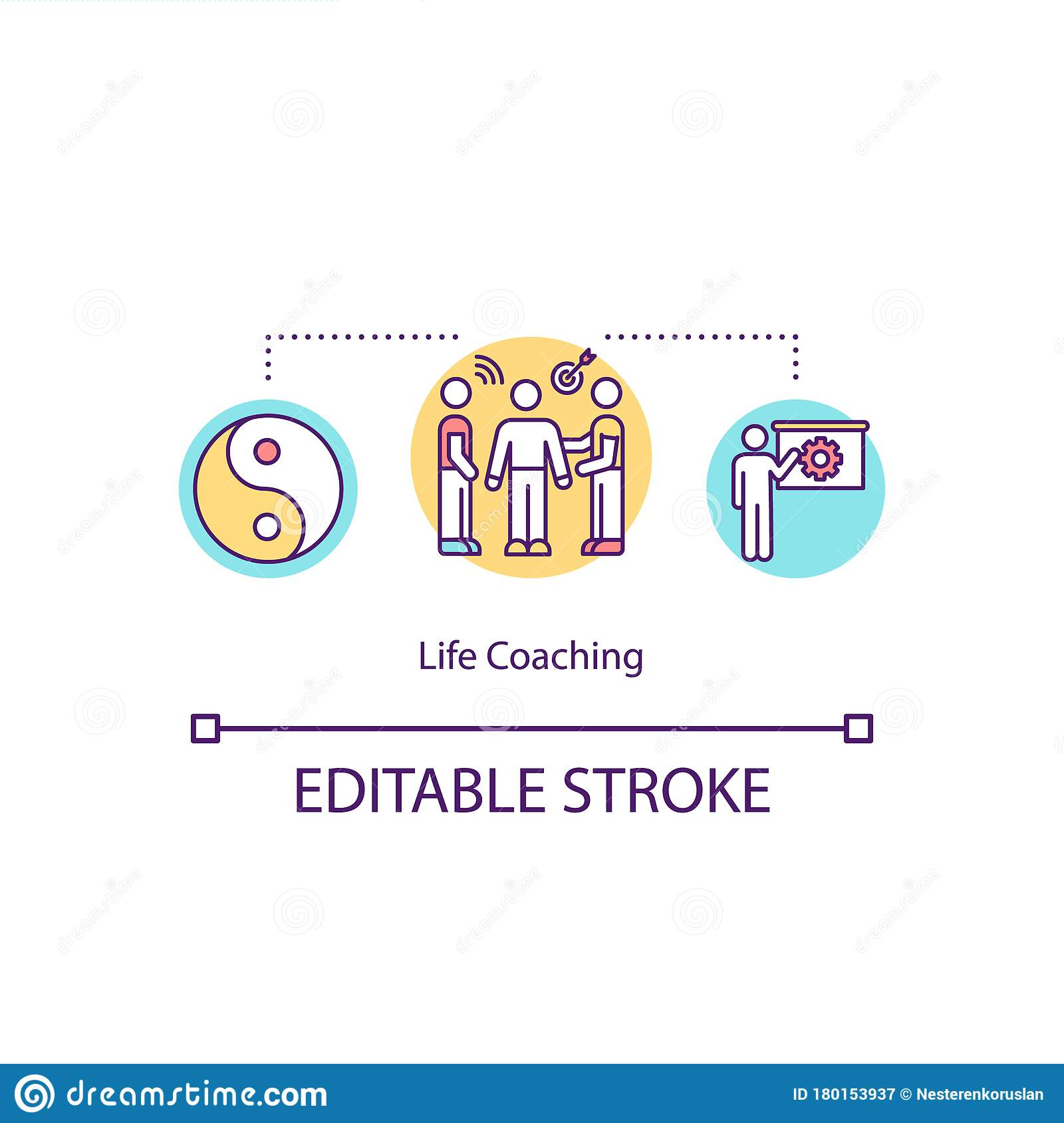 Life coaching concept icon stock vector. Illustration of expert ...