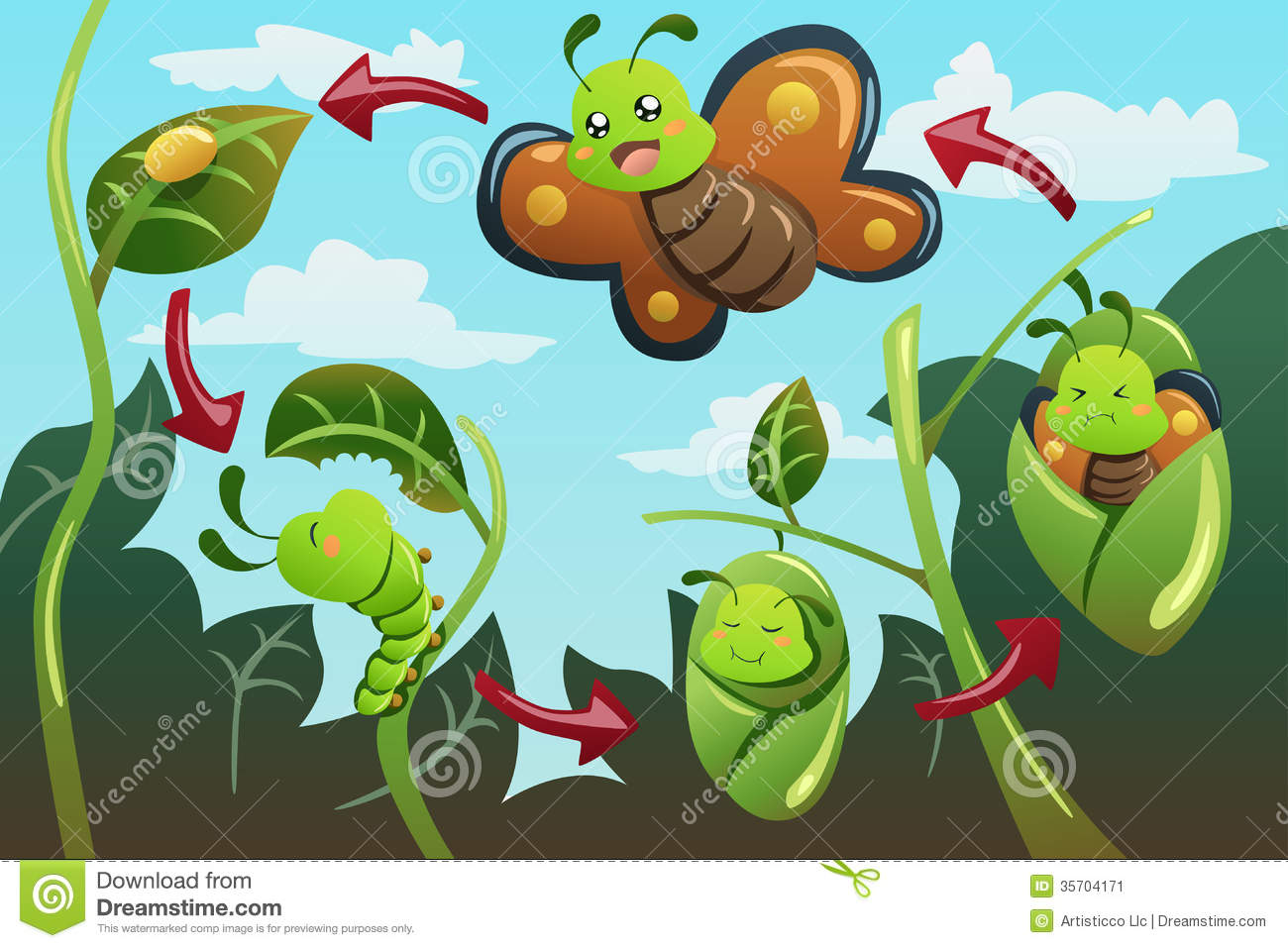 Life Cycle Of The Butterfly Stock Image - Image: 35704171