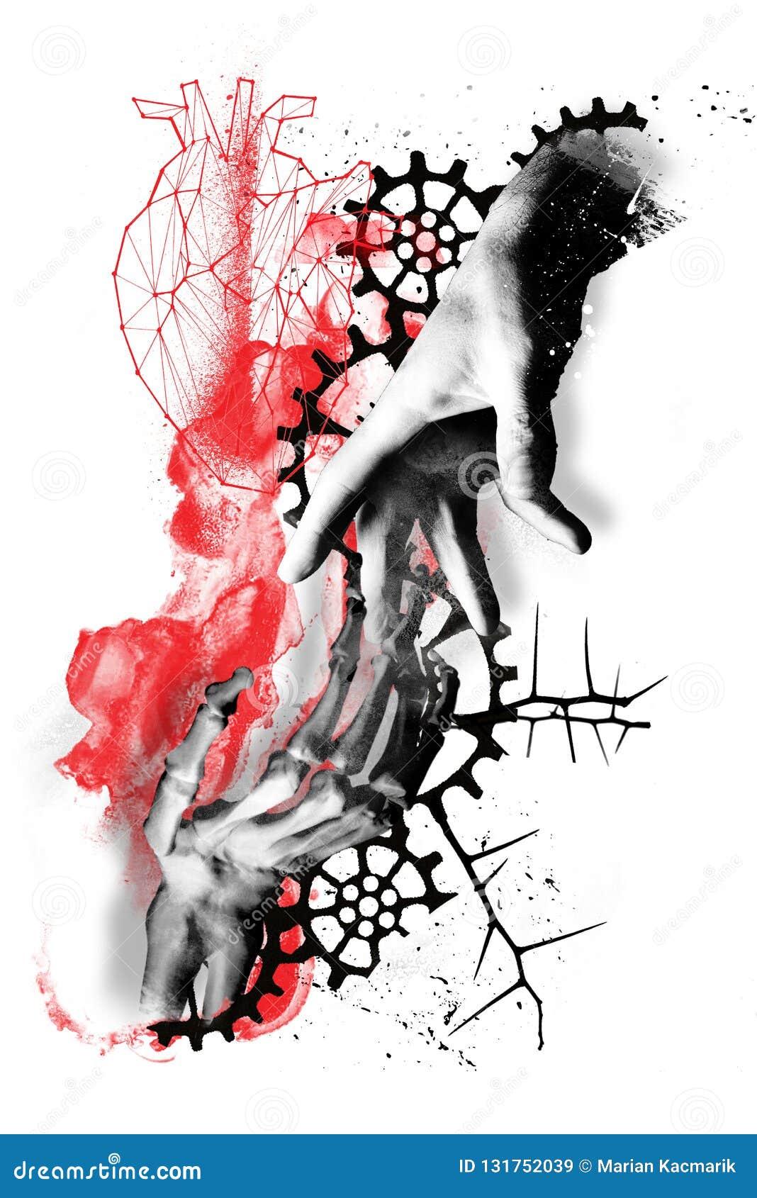 life dead abstract digital art face trash polka grunge color smudge ink tattoo digital art trash polka grunge life dead heart 131752039 - Trash Polka Tattoo Art