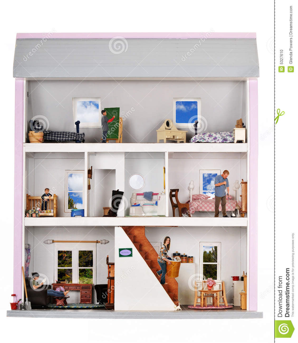 life in a doll house stock photo image of drawing. Black Bedroom Furniture Sets. Home Design Ideas
