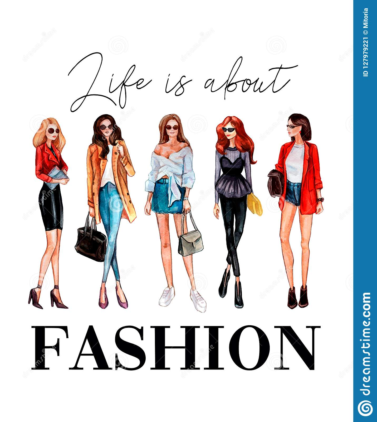 Life is about fashion t-shirt design with stylish girls and lettering.