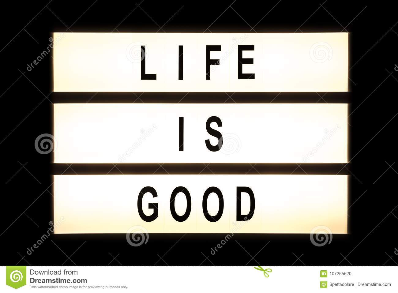 Life Is Good Hanging Light Box Stock Photo Image Of Frame