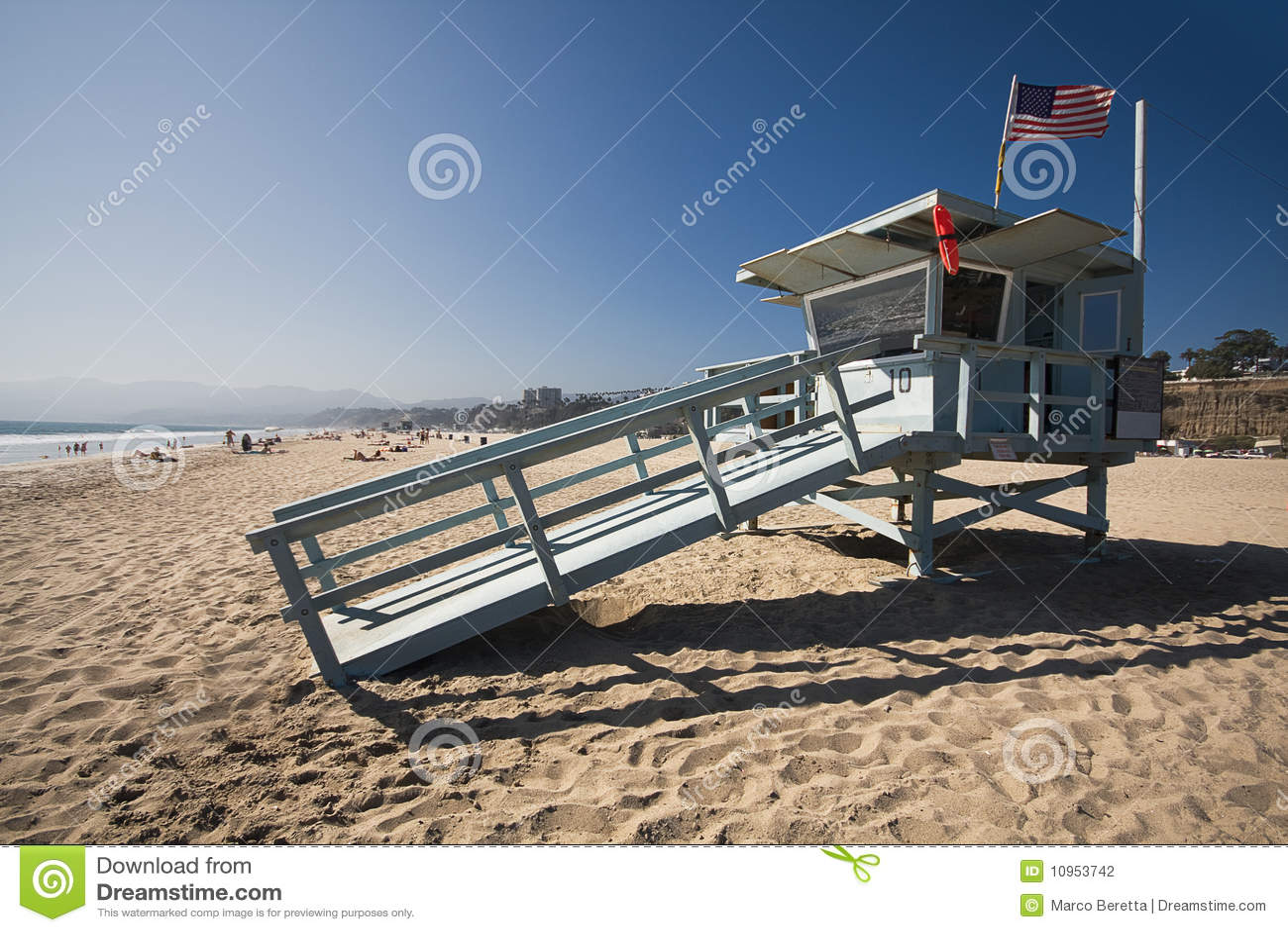 Life Guard House On The Santa Monica Beach Stock Photo