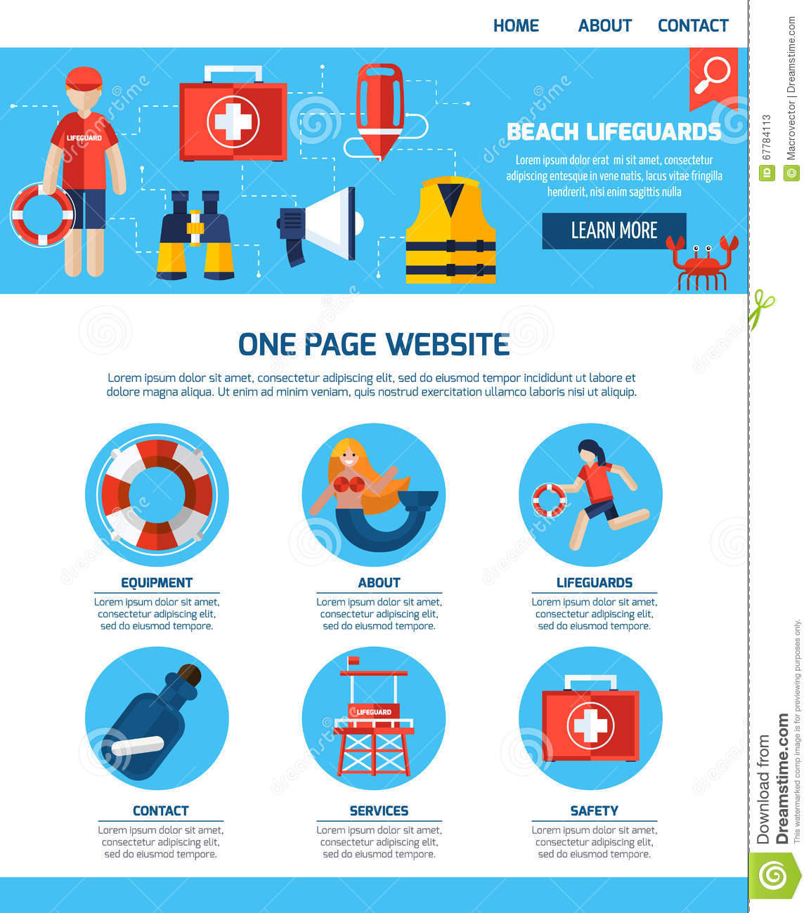Life Guard One Page Website Design Stock Vector