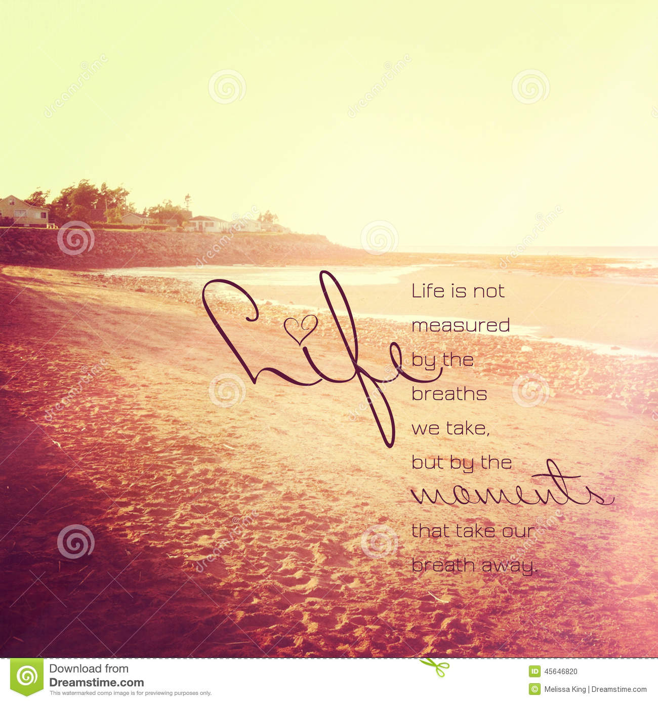 Life Is Not Measured Quote Life Inspirational Quote Stock Photoimage Of Design  45646820
