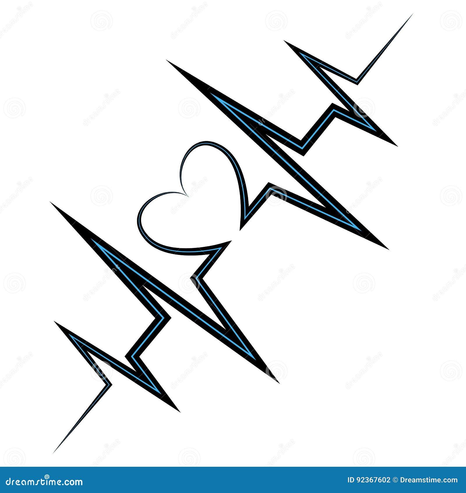 Life Line Symbol Heart Stock Vector Illustration Of Attack 92367602