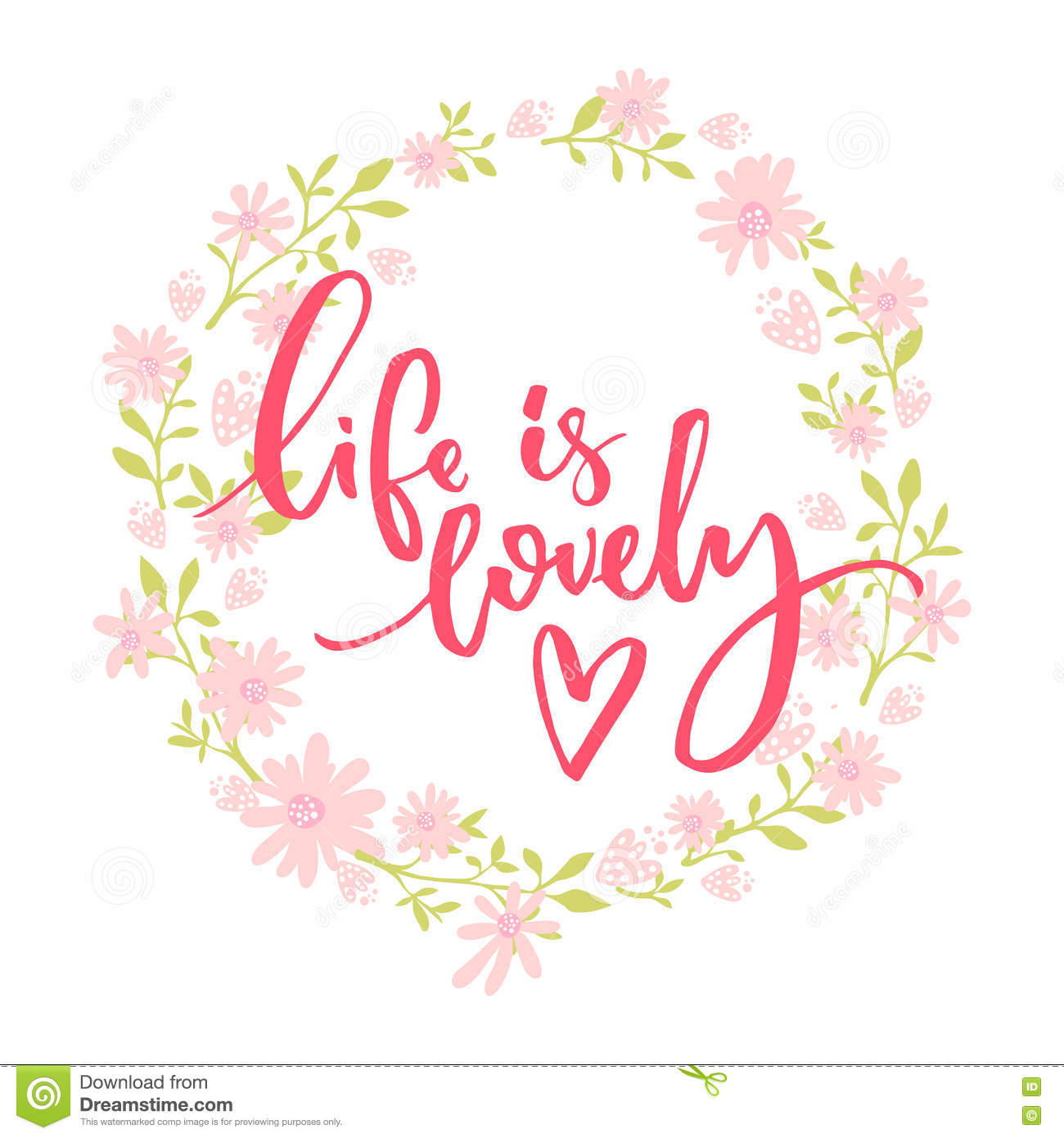 Life is lovely whimsical quote brush lettering at pink