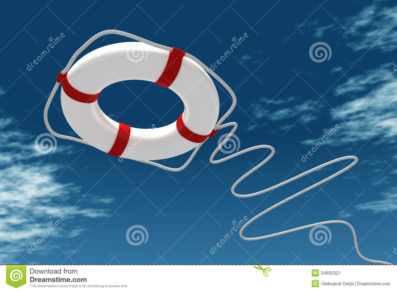 Download Life preserver in sky stock illustration. Illustration of ocean - 34955321