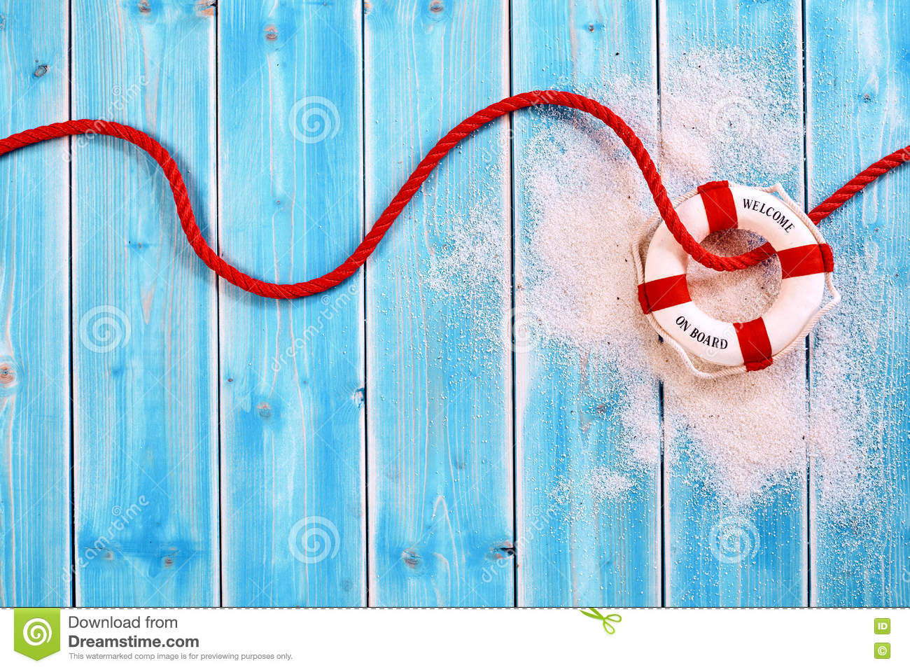 Life Ring With Red Rope On Blue Wood Background Stock ...