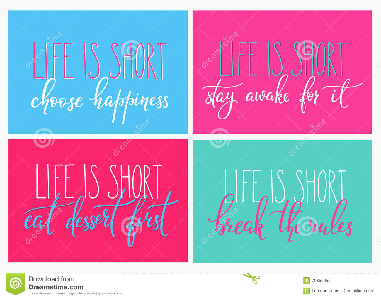 Eat Dessert First Quote: Life Is Short Eat Dessert First Quote Lettering Stock