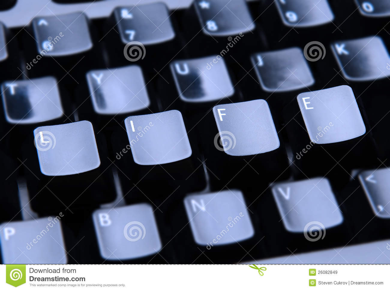 Life Spelled In Cobble : Life spelled out on keyboard royalty free stock photo