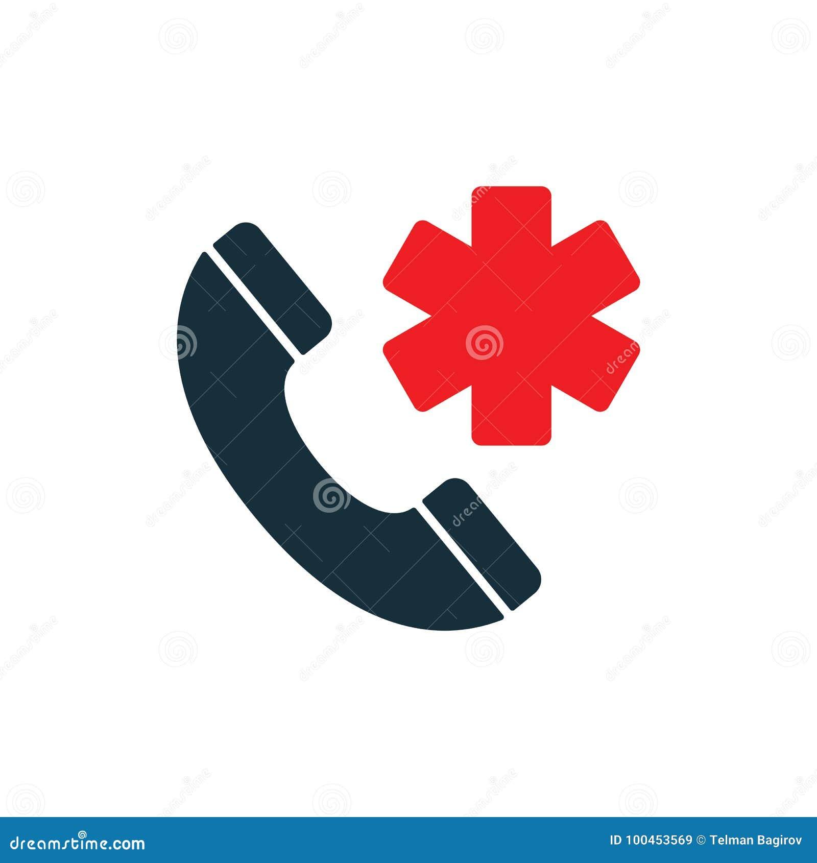 Medical Emergency Phone Icon On White Background Stock Illustration
