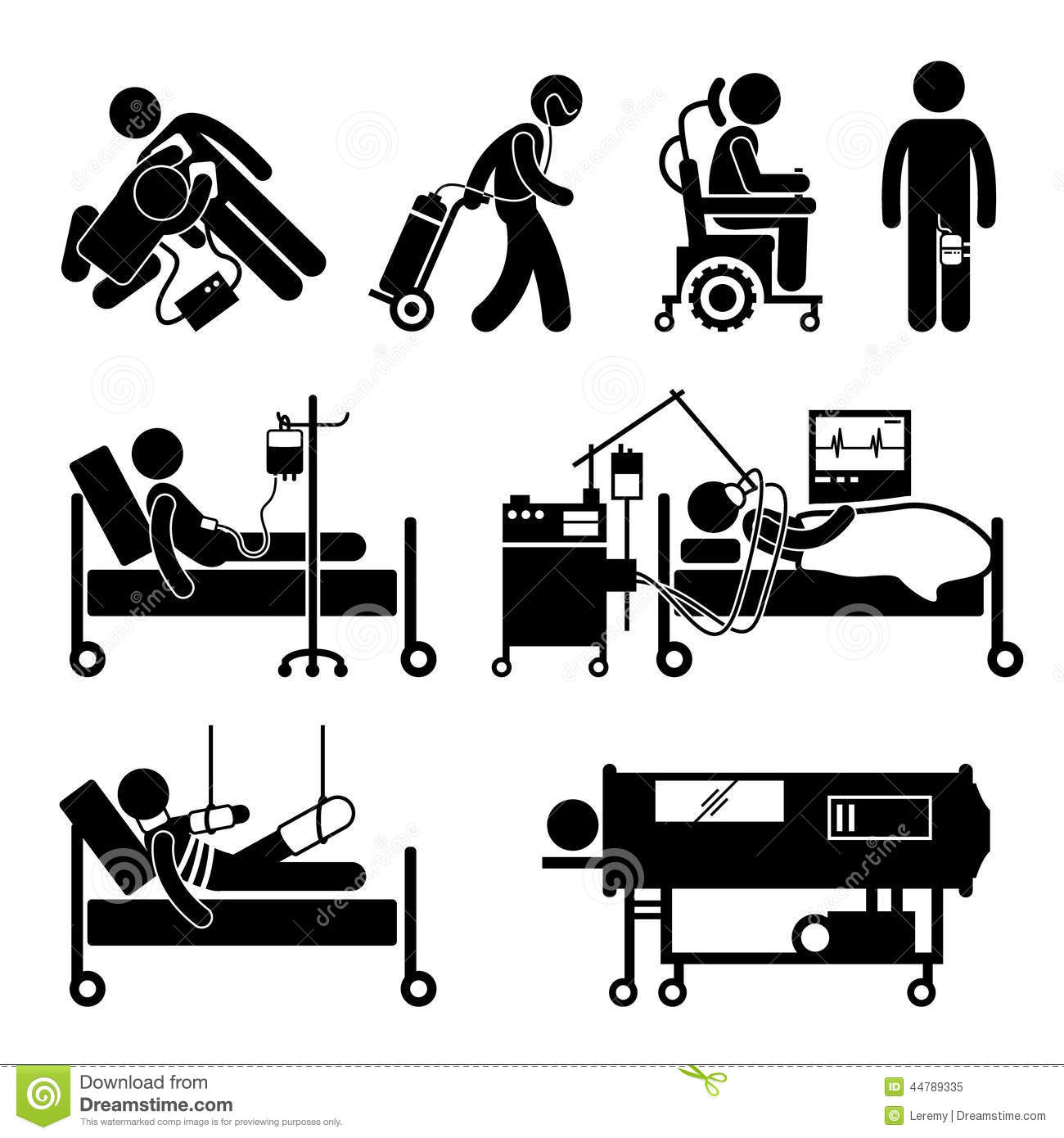 life support equipments cliparts icons stock vector illustration