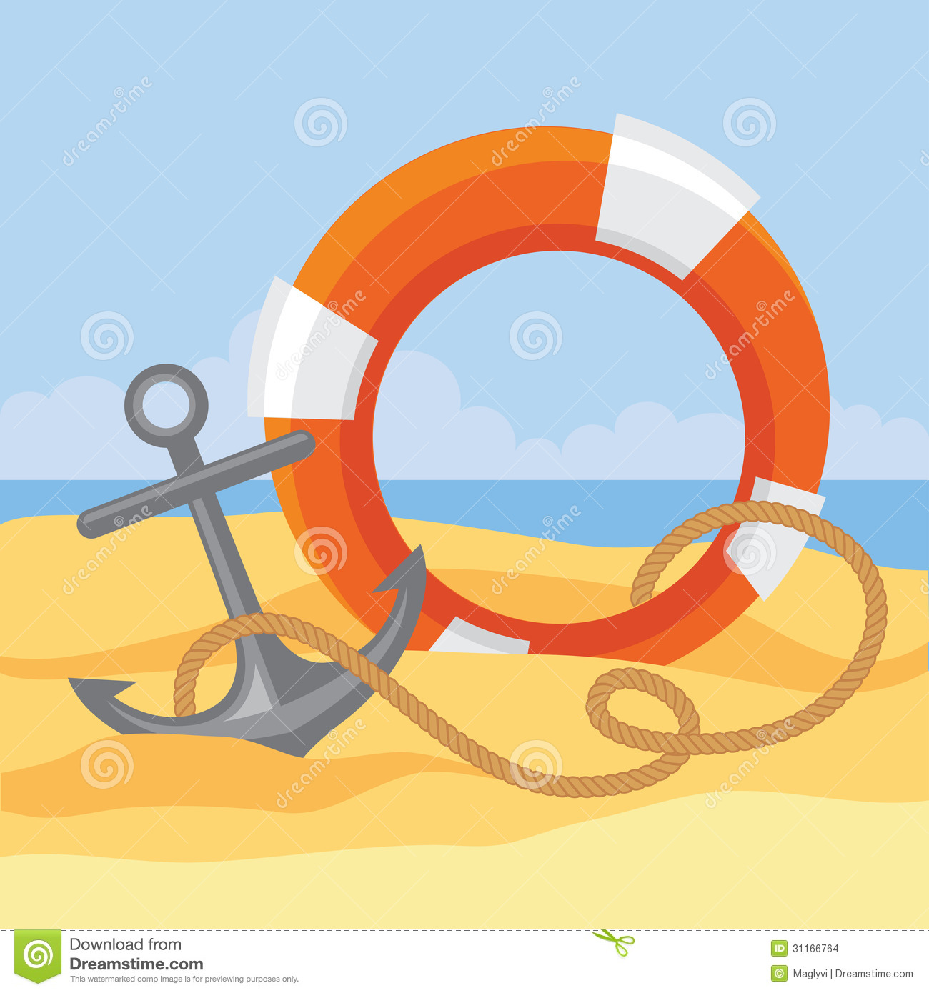 Lifebuoy, anchor and rope