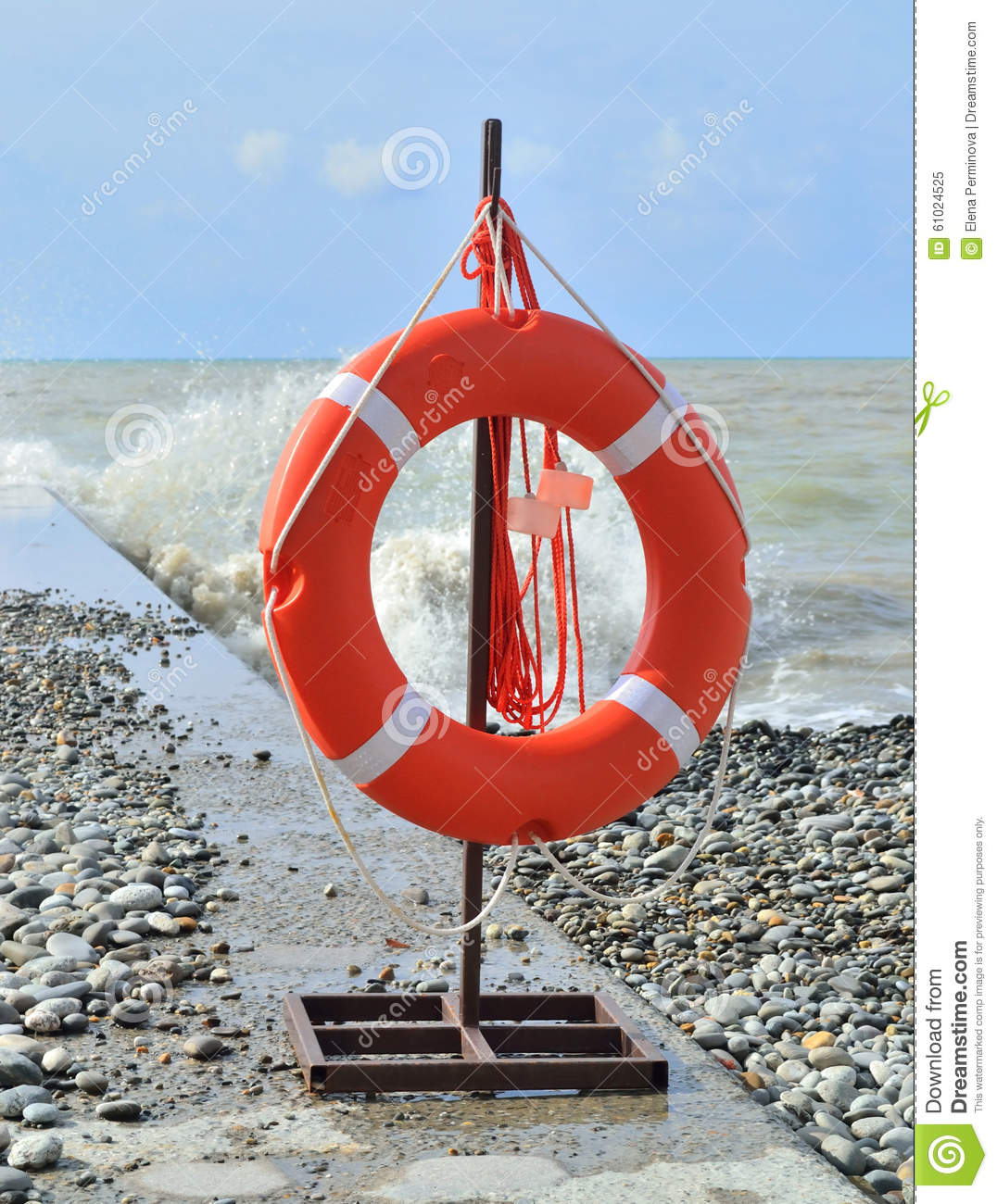 Lifebuoy attached to the seaside