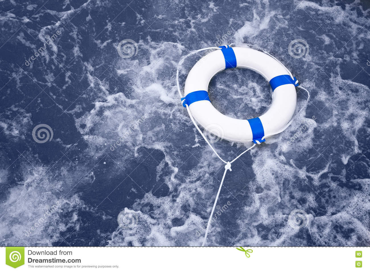 Lifebuoy, lifebelt, life saver rescue in a ocean storm full of f
