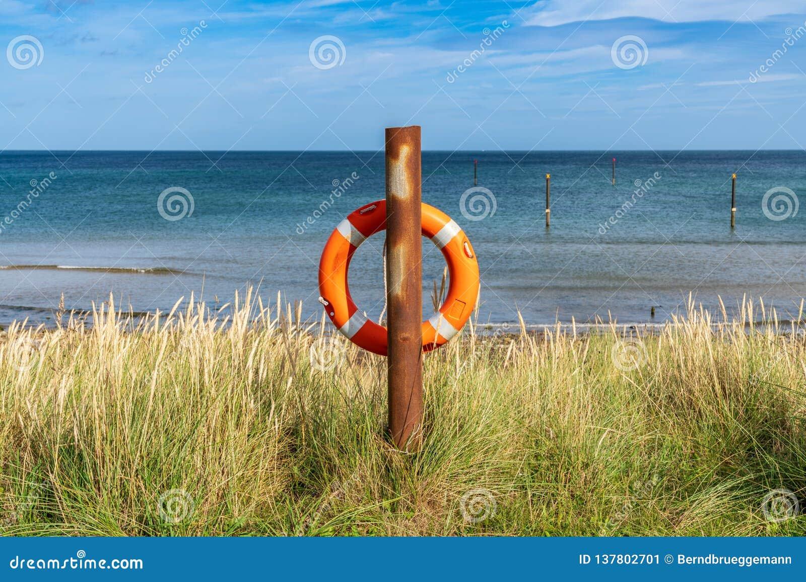 Lifebuoy at the North Sea Coast
