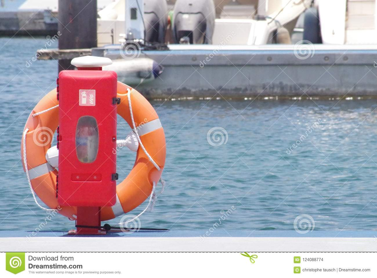 Lifebuoy in position ready to be deployed if needed. Floating device.