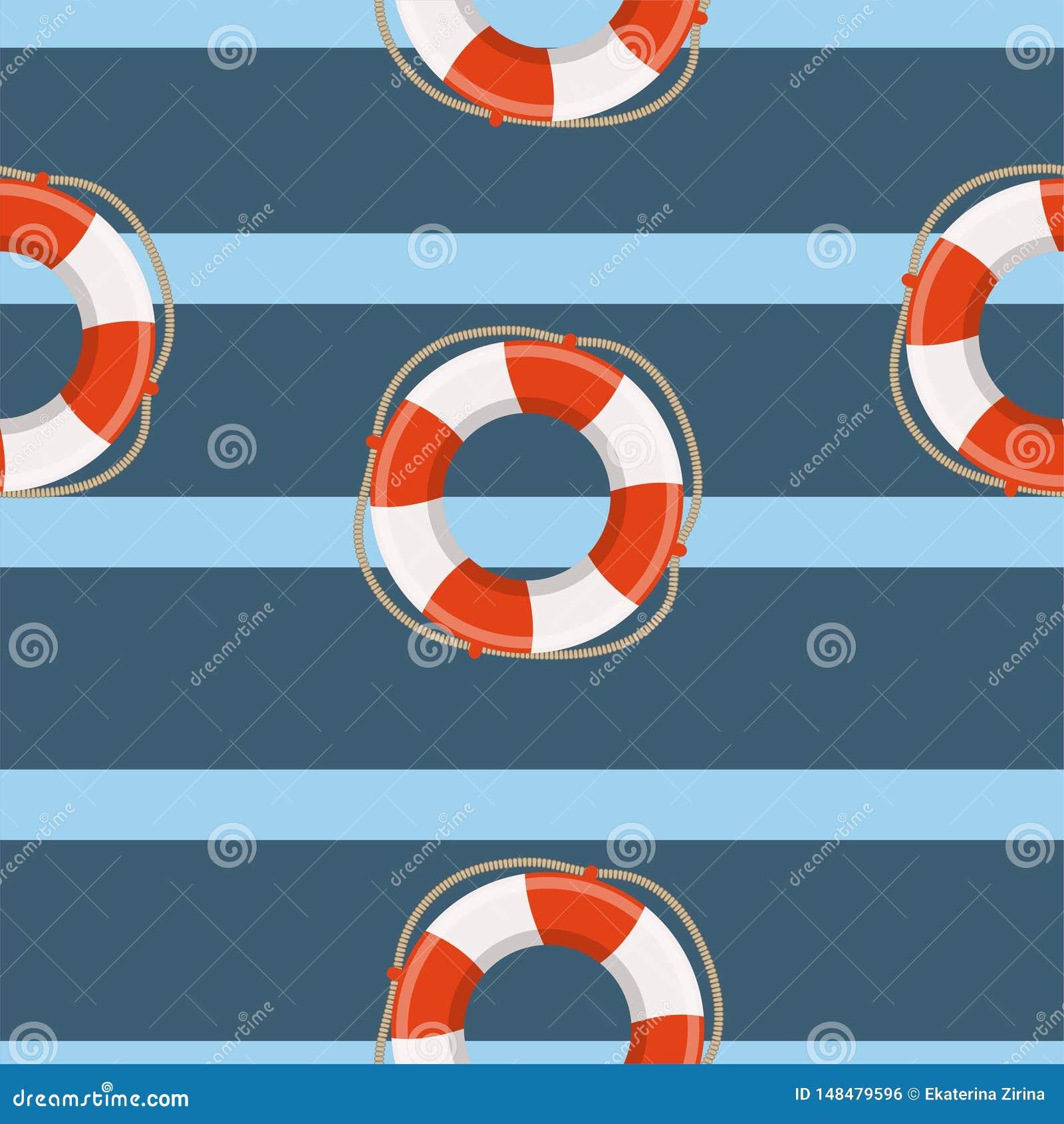 Lifebuoy rejsu morski wektorowy bezszwowy wz?r Dla dziecka, zabawka, tkanina
