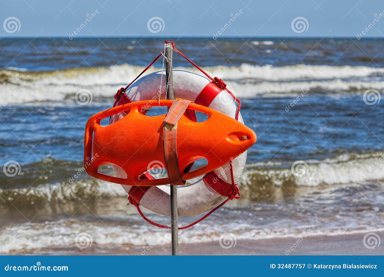 Lifebuoy at seaside