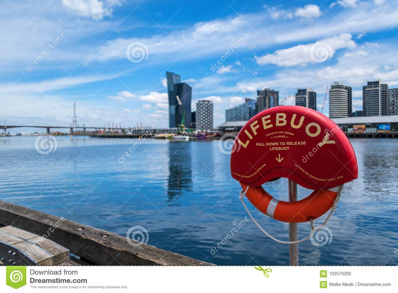 Lifebuoy By The Water In Docklands Editorial Photography ...