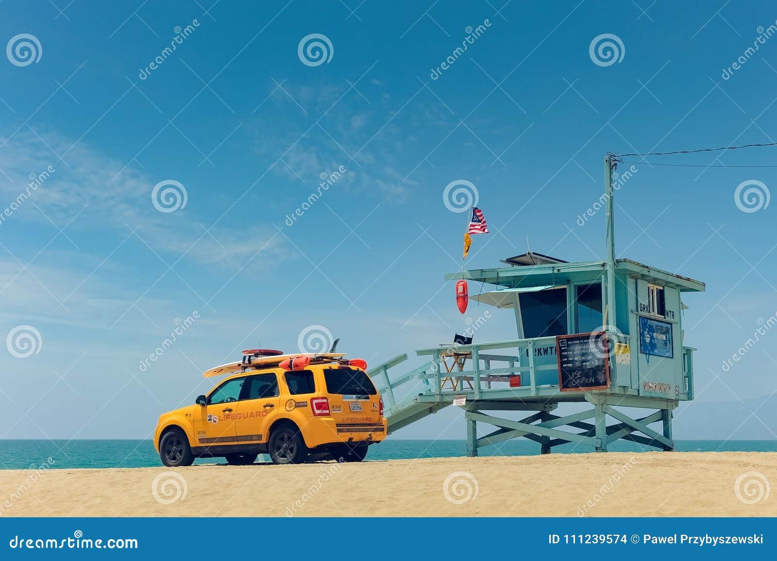 Lifeguard Booth In Venice Beach LA Editorial Stock Image