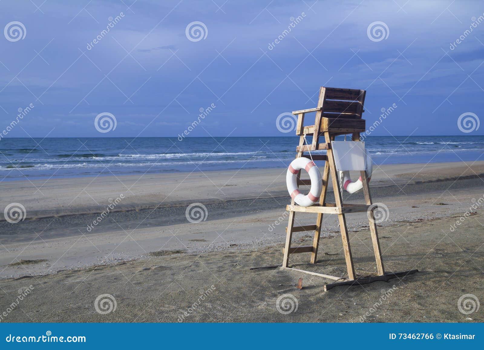 Lifeguard chair on stormy beach