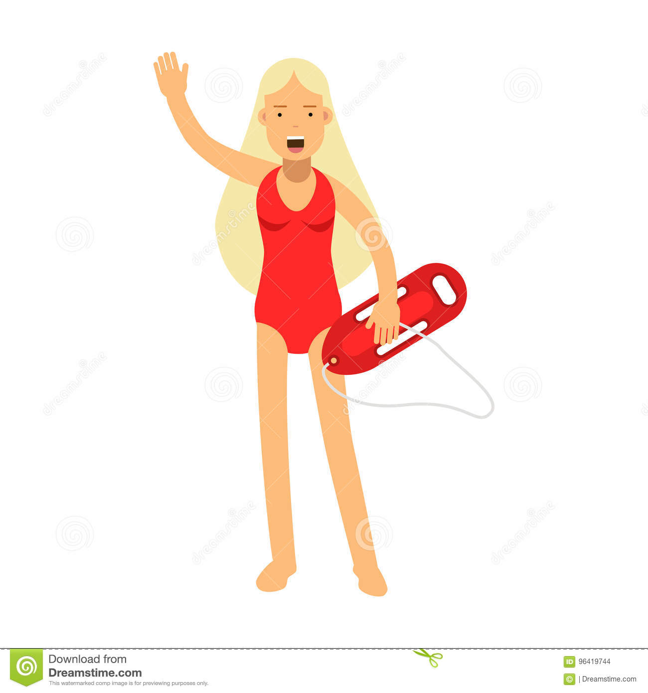 b9298bdb64fb Lifeguard girl character in a red swimsuit with life preserver waving her  hand Illustration