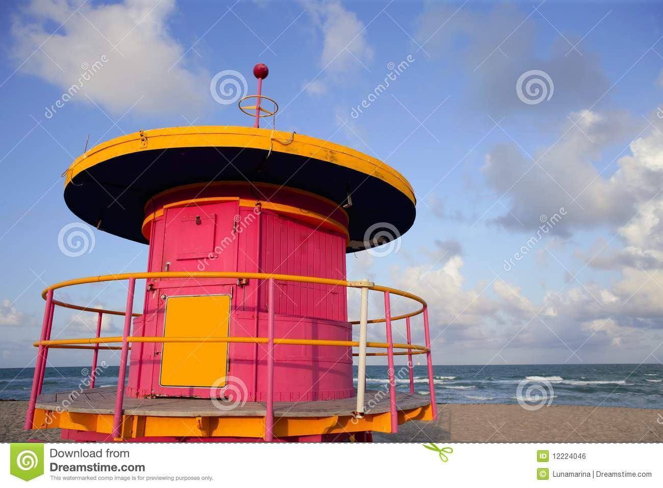Lifeguard Houses In Miami Beach Stock Photo - Image of safe