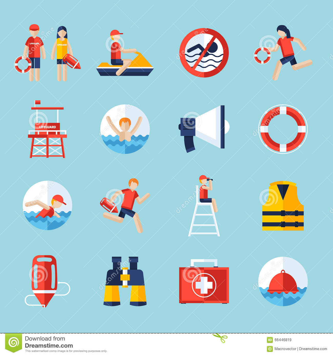 Rescue Concept Icons Vector Illustration