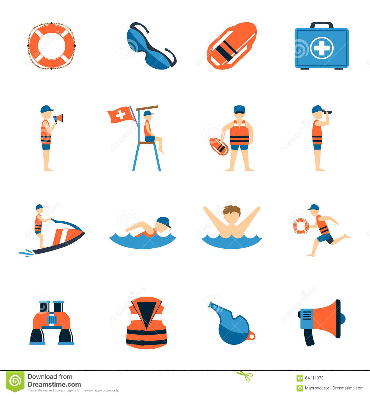 Lifeguard icons set stock vector illustration of