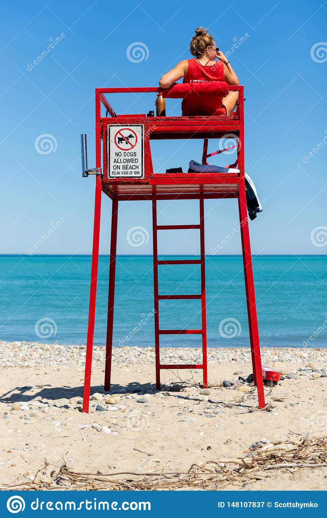 Lifeguard keeps watch on beach