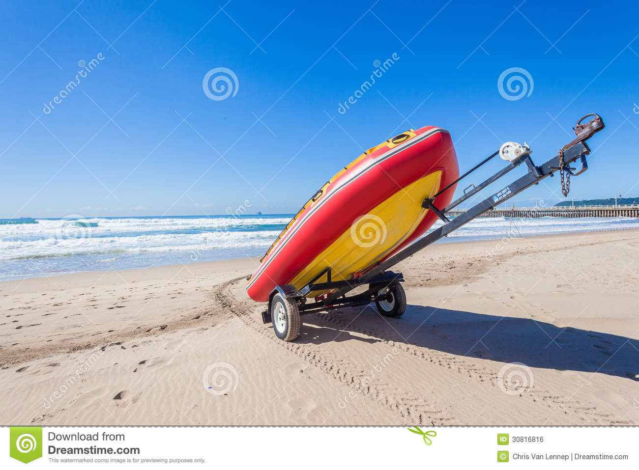 Lifeguard Rescue Inflatable Boat Beach Editorial Photo - Image: 30816816