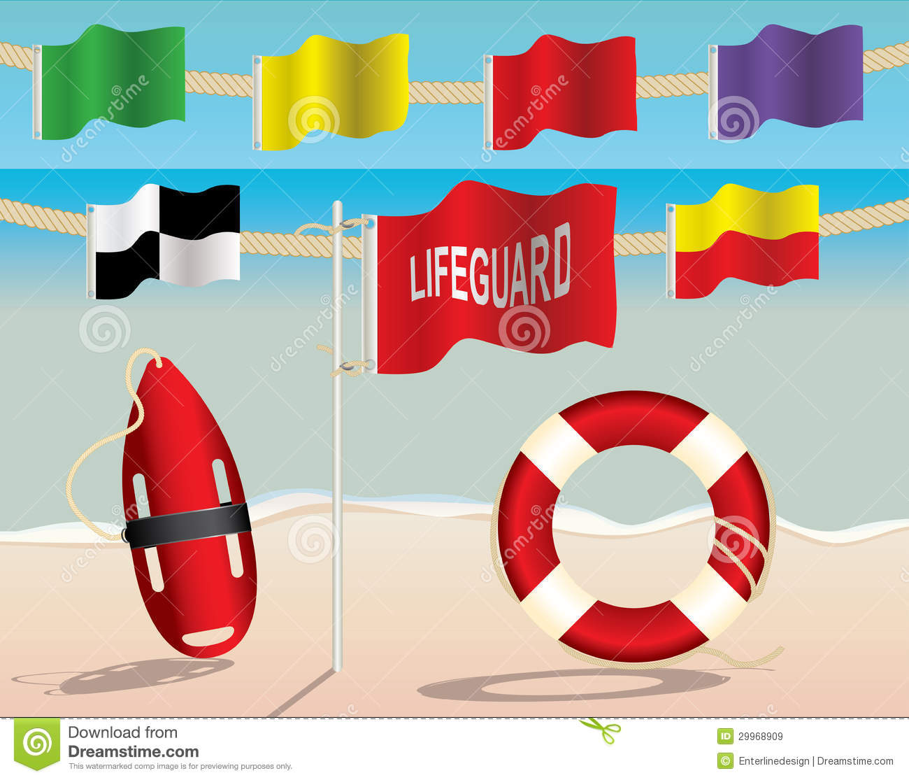 Lifeguard Equipment And Warning Flags On The Beach Royalty