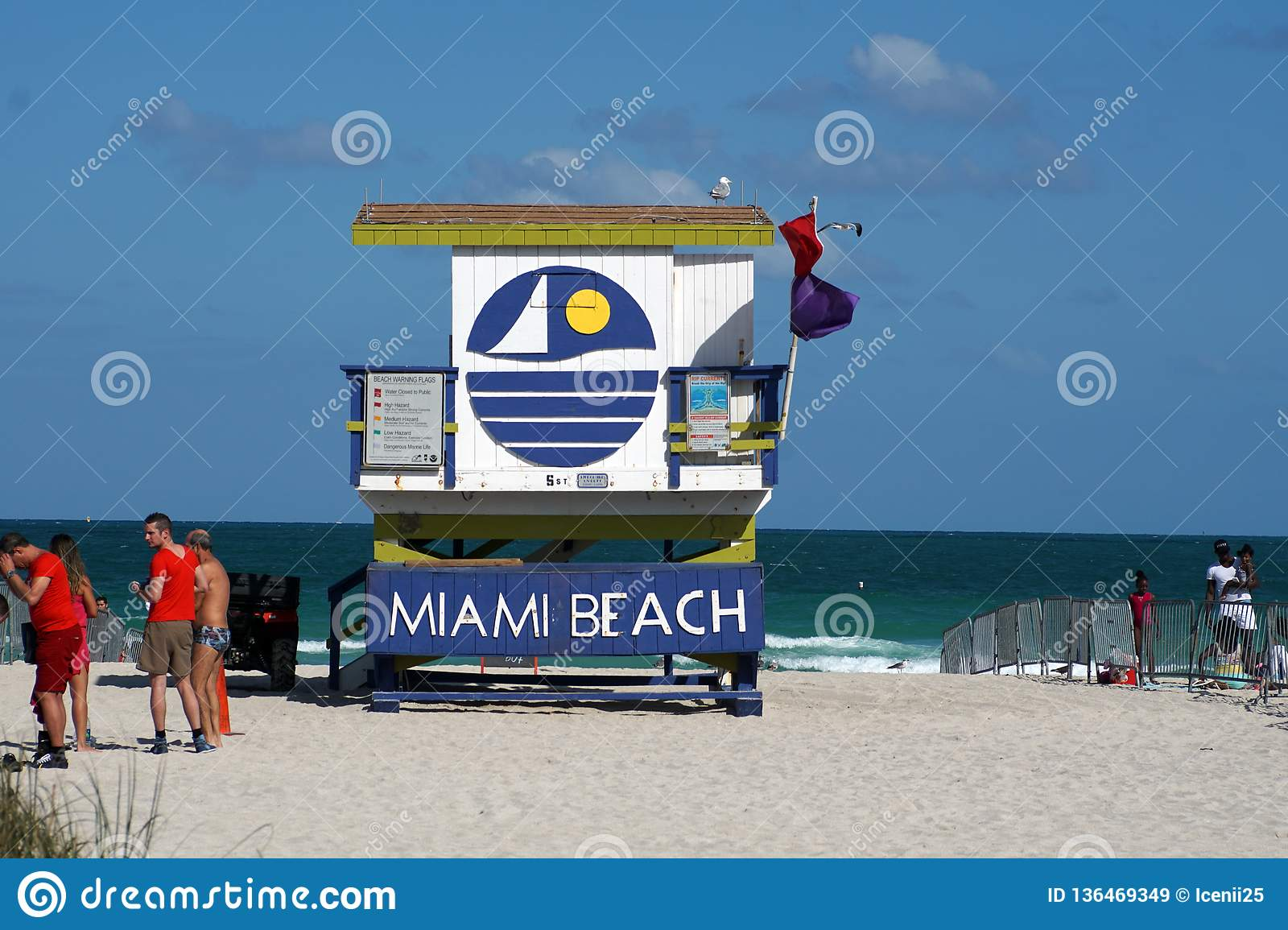 Lifeguard Stand On South Beach In Miami Editorial Stock Image