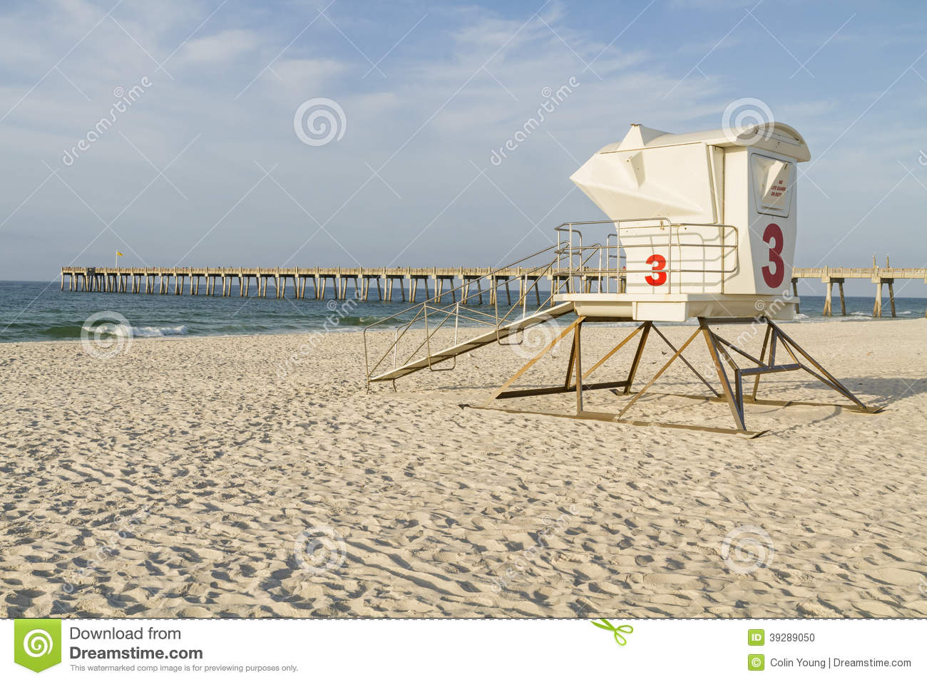 Lifeguard station and pier on pensacola beach stock photo for Pensacola beach fishing