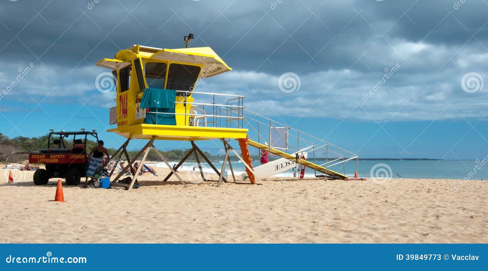 lifeguard tower on big beach maui hawaii editorial stock Lifeguard Clip Art Cartoon Lifeguard Tower